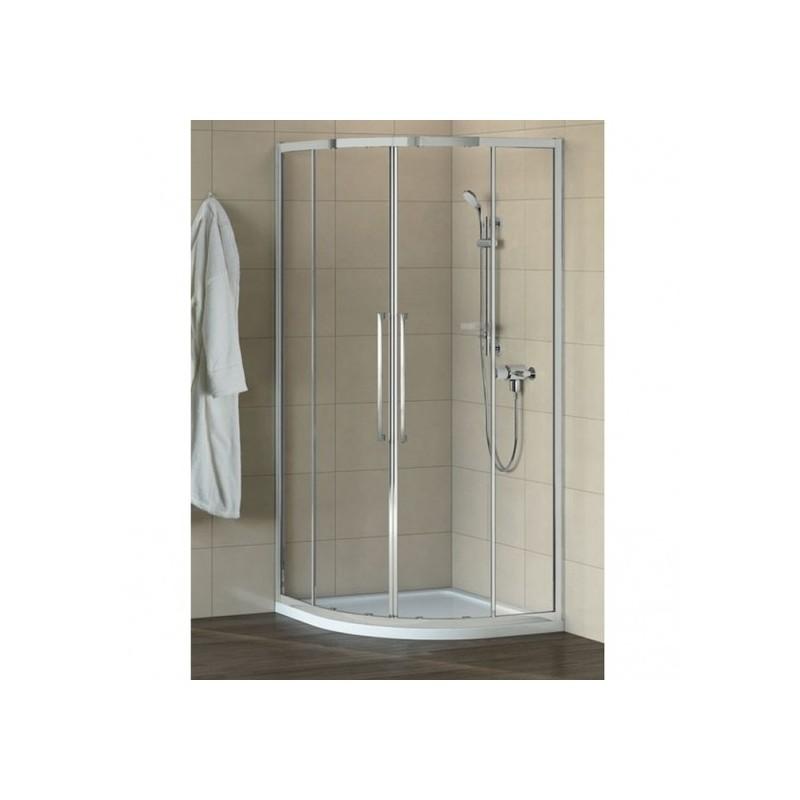 Pusapvalė dušo kabina Ideal Standard Kubo 90, chromuotas profilis, skaidrus stiklas
